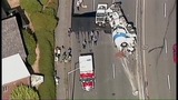Cement truck overturns on Hwy 99 - (1/7)