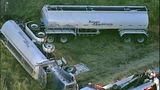 Tanker truck crashes off I-5, flips - (9/11)