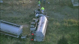 Tanker truck crashes off I-5, flips - (3/11)