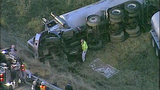 Tanker truck crashes off I-5, flips - (1/11)