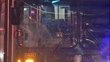 Bus window shattered in pedestrian crash - (7/10)
