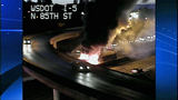 Bus fire images from DOT camera - (1/12)