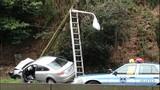 Car collides into pole south of Aurora Bridge - (3/3)