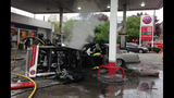 Car catches fire after crash into gas pump - (7/13)