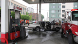 Car catches fire after crash into gas pump - (6/13)