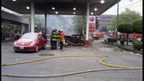Car catches fire after crash into gas pump - (8/13)