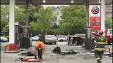 Car catches fire after crash into gas pump - (2/13)