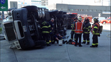 Semi flips, leaks diesel in crash - (5/9)
