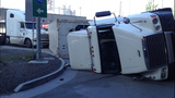 Semi flips, leaks diesel in crash - (1/9)