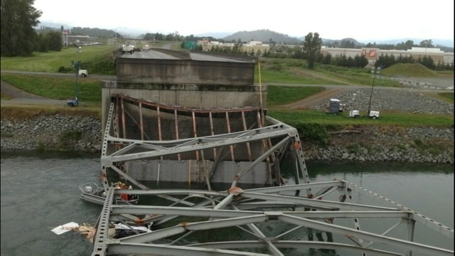 The Interstate 5 bridge over the Skagit River collapsed after an oversized load hit the trusses of the bridge.