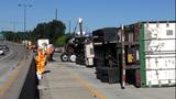 Semi overturns, blocks I-405 lanes in Renton - (1/16)
