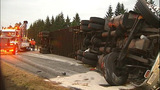 Flipped semi truck halts traffic in Snohomish… - (8/16)