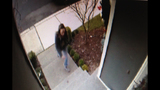 Woman taking package from porch_4267150