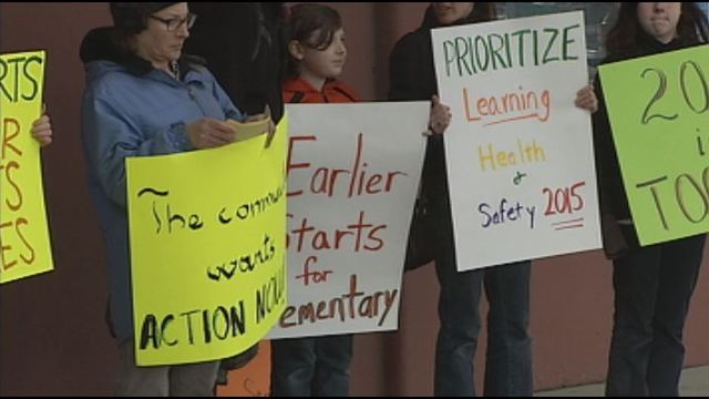 Parents, students and teachers rallied in support of a later start time for high school students.