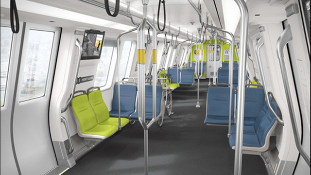 The new BART cars feature seats in neon green and blue, which are the team colors of the 49ers' NFC West rival, the Seattle Seahawks.