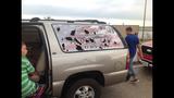 PHOTOS: Morgan Palmer on plane damaged by… - (1/3)