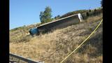 PHOTOS: Semi lands in embankment after I-5 crash - (10/15)