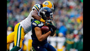 SEATTLE, WA - JANUARY 18: Jermaine Kearse #15 of the Seattle Seahawks catches a 35 yard game-winning touchdown in overtime against the Green Bay Packers during the 2015 NFC Championship game at CenturyLink Field on January 18, 2015 in Seattle, Washington. (Photo by Tom Pennington/Getty Images)