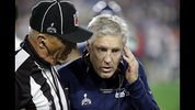 Seattle Seahawks head coach Pete Carroll talks with an official during the second half of NFL Super Bowl XLIX football game against the New England Patriots Sunday, Feb. 1, 2015, in Glendale, Ariz. (AP Photo/David Goldman)