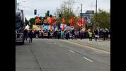 A crowd gathered Sunday along the Seattle waterfront to protest Shell Oil's proposed Terminal 5 site.