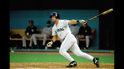 Edgar Martinez doubles home the game winning runs in Game five of the 1995 American League Divisional Series against the New York Yankees at the Kingdome on October 8, 1995 in Seattle, Washington. The Mariners defeated the Yankees 6-5 in 11 innings to win the series three games to two.
