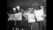 This image, said to have been taken on Aug. 13, 1945, shows sailors reading news of Japan's surrender. It's not clear exactly where it was taken – P-I photographers notes were not saved other than the negative sleeve - but it's believed to have been along Fourth Avenue.