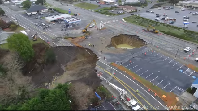 Still from drone footage above Ore. sinkhole. Credit: Kyle Rice.