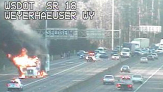 Semi fire blocked lanes on EB SR 18