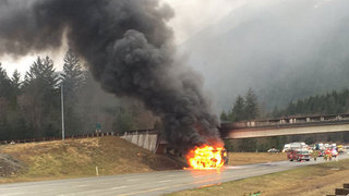 I-90 EB near North Bend reopens after motor home fire