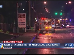 Evacuations after car crashes into natural gas pump in Everett
