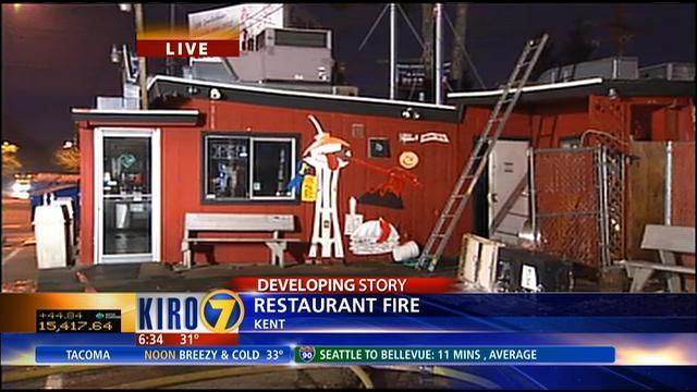 Fire erupts at Kent\'s Cave Man Kitchen | KIRO-TV