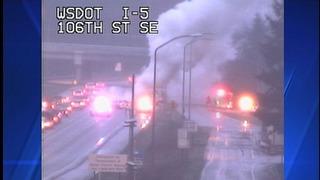 Semi fire blocking lanes of SB I-5 in Everett