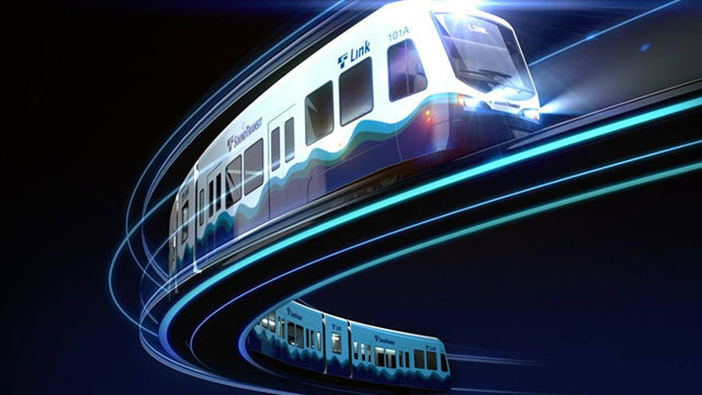 Link rail file photo via Sound Transit