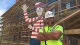 [Credit: Heidi Prescott, Beacon Health System] Jason Haney with his construction of Waldo.