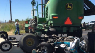 Woman airlifted after crash with John Deere tractor