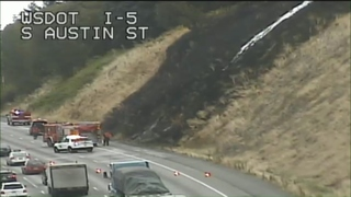 Brush fire along I-5 in Seattle Saturday morning