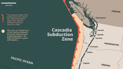 The Cascadia Subduction Zone off the coast of North America spans from northern California to southern British Columbia.
