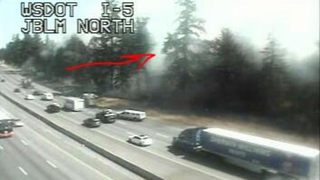 Brush fire off northbound I-5 near JBLM