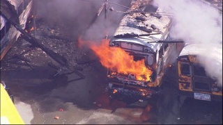 PHOTOS: Over 25 buses damaged in fire Wednesday