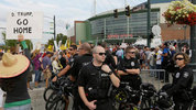 Seattle police officers work outside Everett's Xfinity Arena during Donald Trump's visit to Washington Aug. 30, 2016. (AP)