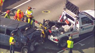 PHOTOS: Van slams into WSDOT truck on I-90 Bridge