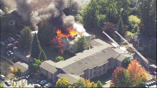 Crews fight huge apartment fire in West Seattle