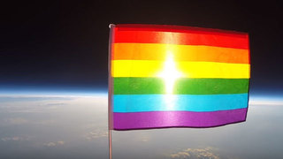 Time lapse shows first pride flag launched into space