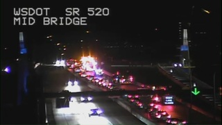Crews rescuing injured worker on 520 Bridge