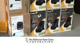 The Bellevue Rare Coins Foundation donates nine car seats to WestSide Baby