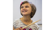 Jayna Doll, 10, has been partnering with University of Washington students and engineers professors to develop orthoses that allow her to do the things she's always dreamed of – specifically, playing the drums. (UW photo)