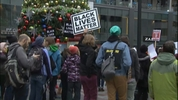 Black Lives Matter demonstrators gather in downtown Seattle in an annual Black Friday protest.