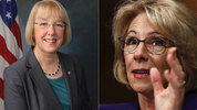 Left, Murray file photo; Right, DeVos, AP Photo/Carolyn Kaster, file photo