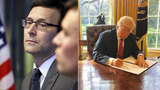File photos: Left Bob Ferguson; Right: Donald Trump signing an executive order earlier in the year,