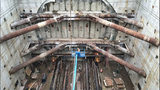 Workers with Seattle Tunnel Partners prepare for Bertha to reach the end of what will be the new SR 99 tunnel. (WSDOT)